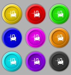 Forklift icon sign symbol on nine round colourful vector