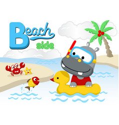 funny animals cartoon in the beach vector image