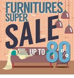 Furniture Super Sale Up to 80 Percent vector image