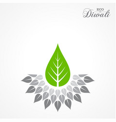 greeting for celebrate green diwali concept vector image