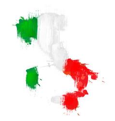 Grunge map italy with italian flag vector