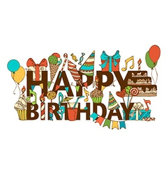 Hand-drawn Happy Birthday background vector