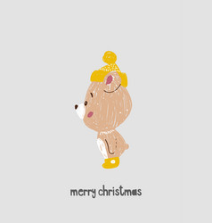 hand drawn of bear for merry c vector image