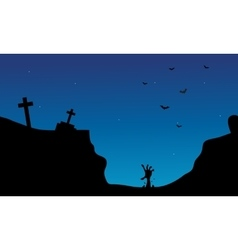 Hand zombie and tomb Halloween scenery vector