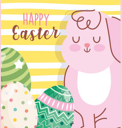 happy easter cute rabbit and decorative eggs vector image