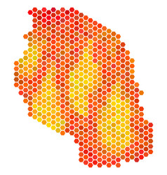 Hot hexagon tanzania map vector