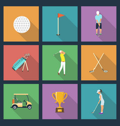 Icons of young people playing golf vector