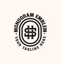 initial hs sh monogram emblem logo template vector image
