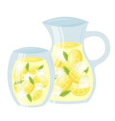 lemonade in glass cup and pitcher cartoon icon vector image