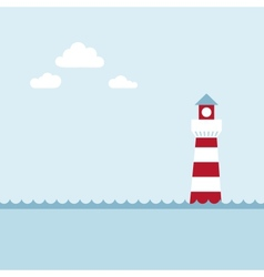 Lighthouse on sea fairy shore vector