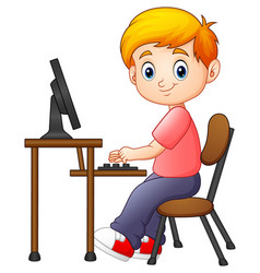 Little boy working on the computer vector