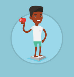 man standing on scale and holding apple in hand vector image