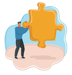 man with big puzzle vector image
