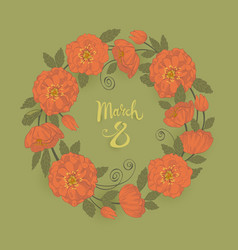 march 8 womens day greeting card with a wreath vector image