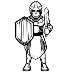 Medieval soldier line art vector