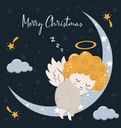 Merry christmas poster with angel and moon vector