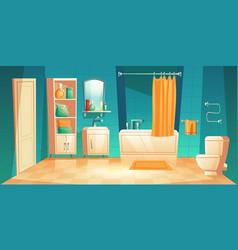 Modern bathroom interior with furniture cartoon vector