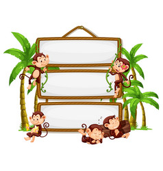 monkey with signboard on white background vector image