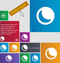 Moon icon sign metro style buttons modern vector