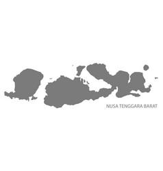 nusa tenggara barat indonesia map grey vector image