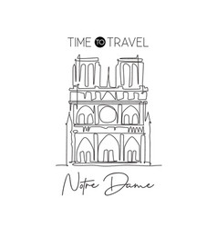 One continuous line drawing notre dame landmark vector