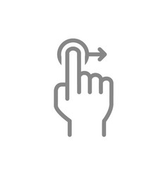 one-touch and swipe right line icon touch screen vector image
