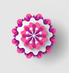 Paper cut flower origami bud vector
