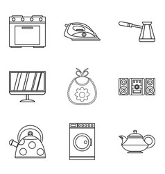 Permanent residence icons set outline style vector