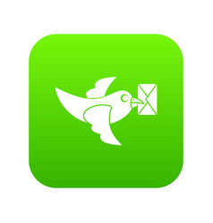 Pigeon fly with mail icon digital green vector