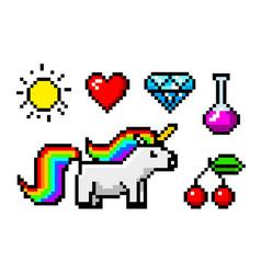 Pixel art 8 bit objects character unicorn vector
