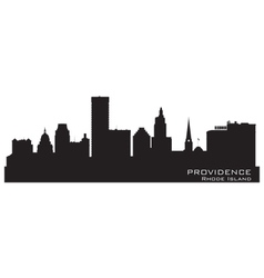 Providence Rhode Island skyline Detailed city silh vector image