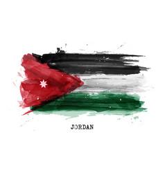 Realistic watercolor painting flag jordan vector