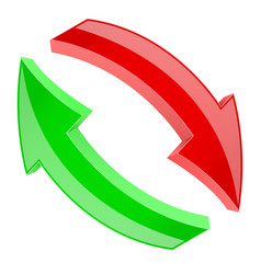 red and green refresh arrows 3d shiny signs in vector image