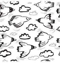 seamless pattern with birds and cloudsbackground vector image