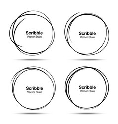 Set hand drawn scribble circles vector
