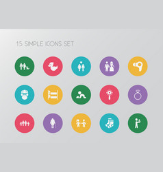 set of 15 editable kin icons includes symbols vector image