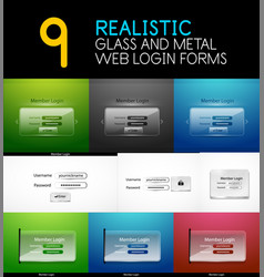Set of realistic transparent glass and metal web vector