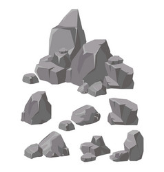 Set of rocks and stones grey vector