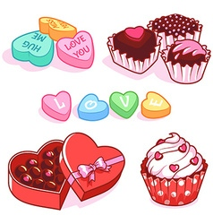 Set of sweets for Valentines Day vector image