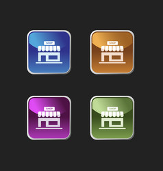 shop icon on colored square buttons vector image