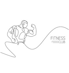 Single continuous line drawing young muscular vector