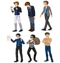 Six men with different works vector