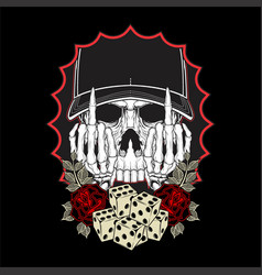skull and middle finger symbol with dice vector image