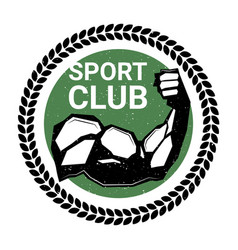Sport club logo with athletic male hand biceps vector