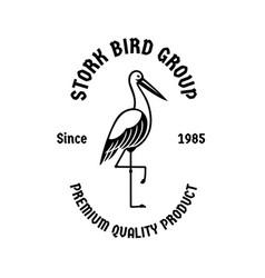 Stork bird standing vintage logo badge vector