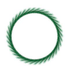 Thin christmas wreath round frame vector