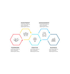 Thin line flat hexagons for infographic template vector