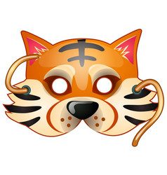 tiger mask with strings drawn in cartoon style vector image