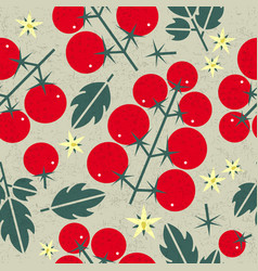 Tomato cherry seamless pattern leaves flowers vector