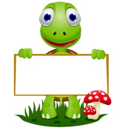 turtle with sign vector image